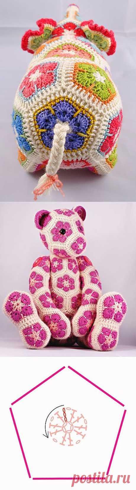 Цветочный фрагмент крючком АФРИКАНСКИЙ ЦВЕТОК для вязания игрушек.
