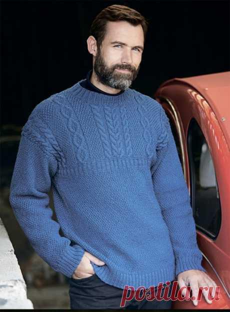 Синий мужской джемпер с рельефными узорами — HandMade