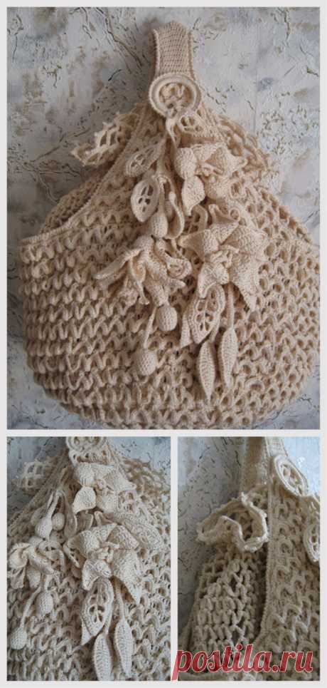 Crochet Bag Flower Pattern