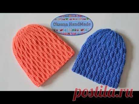 Шапка крючком, одна схема - два узора. Crochet hat pattern