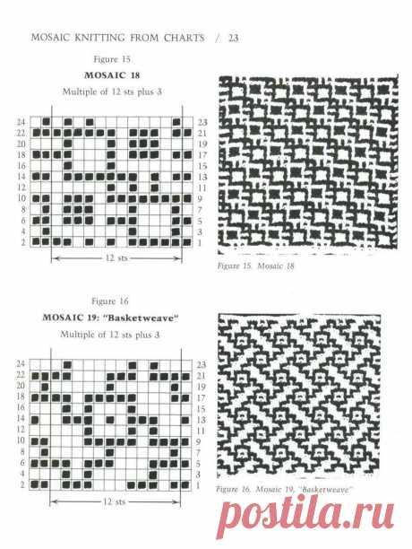 Радуга вышивки=): Самая большая книга узоров ленивого жаккарда. Вязание спицами. Mosaic Knitting. Free patterns.