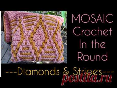Overlay Mosaic Crochet in the Round- Diamond Pattern -Notions/ Makeup Bag Tutorial - YouTube