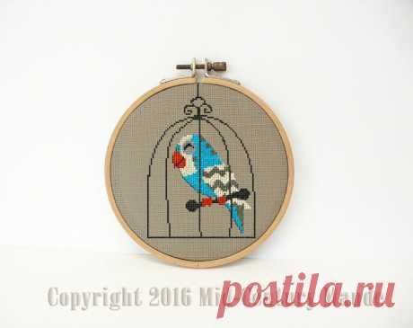 Parakeet in birdcage cross stitch pattern mid century modern   Etsy