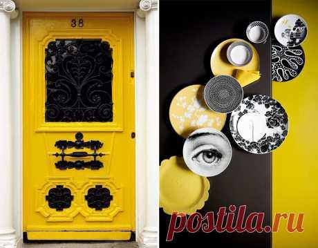Черный с желтым: 30 примеров цветового сочетания – Вдохновение