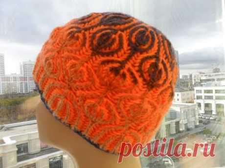 "Шапка бриошь ""Леденцы""  1 часть ( hat knitting technique in brioche) (Шапка #22)"