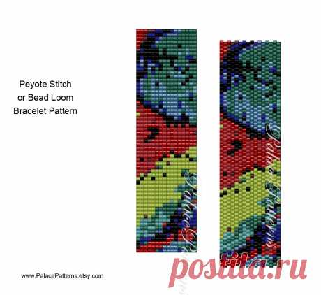 8/0 Bead Peyote Bracelet Pattern - 8/0 Seed Bead Pattern - 8 Bead 17 - Bead Loom Bracelet Pattern for Large Beads This bracelet pattern is for even count peyote stitch or bead loom weaving, using a generic 8/0 seed bead color palette. Because it uses large beads, it will work up really fast. Great for making gifts. Peyote version is shown.  There are 10 colors.    This is a perfect pattern for all of those boxes of beads you have in your stash.  I find it easier to just ma...