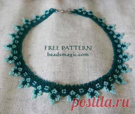 Free pattern for necklace Blue Cross   Beads Magic