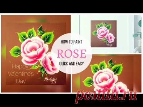Valentines Day Painting | Pink Roses Painting | Acrylic painting | one stroke painting