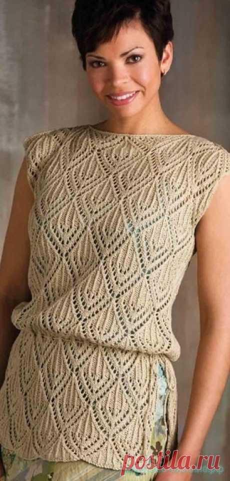 Openwork tunic sleeveless jacket of Pamono. Spokes. Sizes: S (M; L; XL; 2XL). \/ красивое-вязание.рф