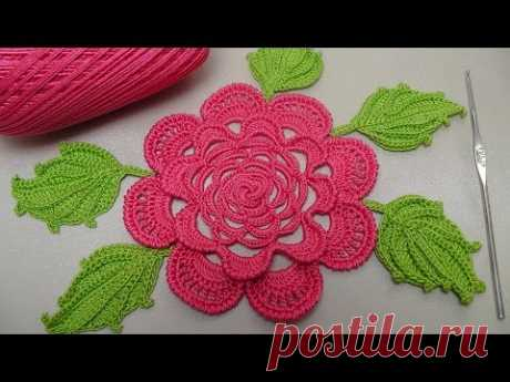 Knitting of the ROSE hook. A flat rose for the Irish lace. Rose Crochet