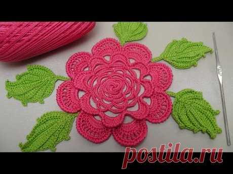 Вязание РОЗЫ крючком. Плоская роза для ирландского кружева. Rose Crochet