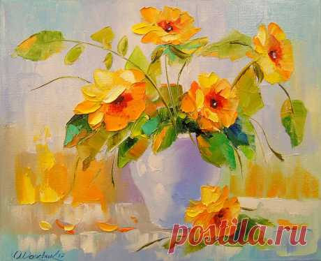Yellow Flowers Painting by Olha Darchuk