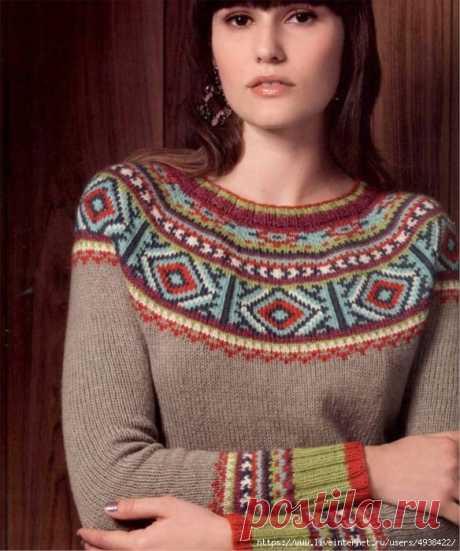 "Пуловер ""Персия"" с круглой жаккардовой кокеткой от Норы Гоан. Persian Yoke Pullover by Norah Gaughan."