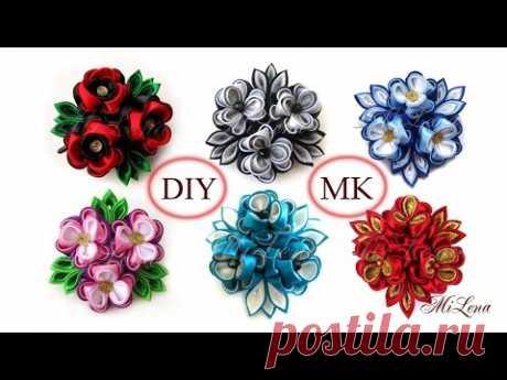 Тройной цветок канзаши, МК / DIY Triple kanzashi flowers / Kanzashi tutorial