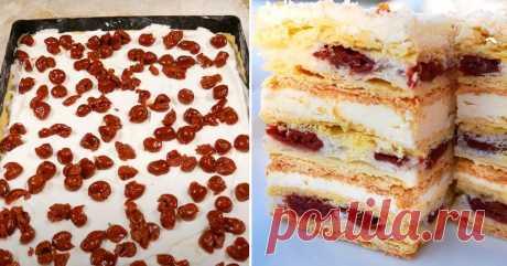 Вишневый торт со слоеным тестом и заварным кремом