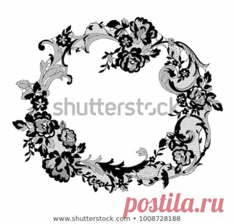 Стоковая векторная графика «Lace Flowers Frame Decoration Element» (без лицензионных платежей), 1008728188: Shutterstock