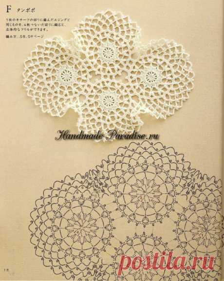 Decorative knitting by a hook. Japanese magazine