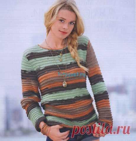 Полосатый пуловер с фантазийным узором - Хитсовет Полосатый пуловер с фантазийным узором. Вам потребуется: пряжа (100% хлопка; 180 м/100 г) 500/600/600/700 г зелено-коричневой; спицы № 5,5 и 6; короткие круговые спицы № 5,5.