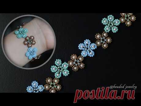 Five petal flower bracelet. How to make beaded bracelet. Beaded jewelry