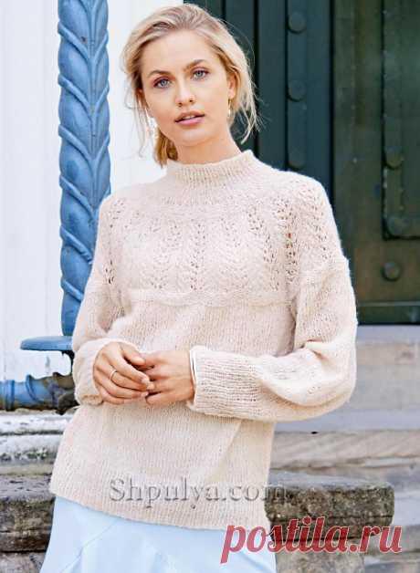Кремовый пуловер с ажурной кокеткой