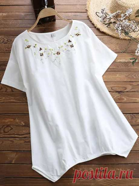 Women Casual Loose Embroidered Short Sleeved T-Shirts - US$25.99
