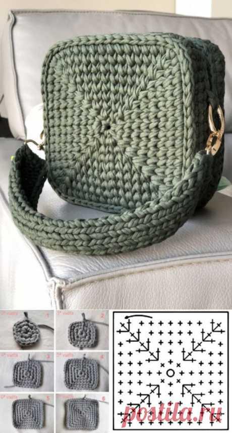 Летние сумки крючком из трикотажной пряжи. Схемы ~ Свое рукоделие