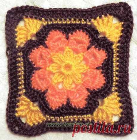 Вяжем большой квадратный мотив по типу африканского цветка крючком со схемой и описанием. Открывается долгоиграющий проект - одеяло из мотивов за год.