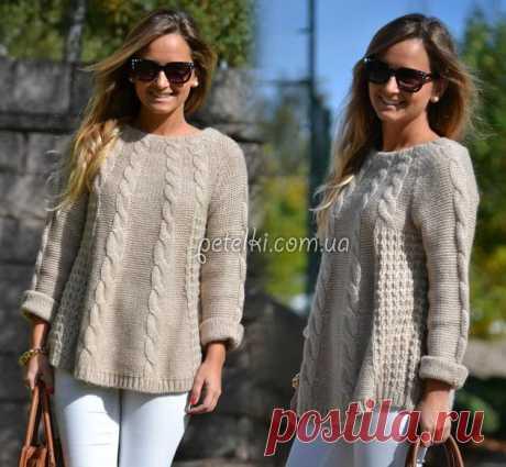 Пуловер-туника спицами. Схемы, выкройка