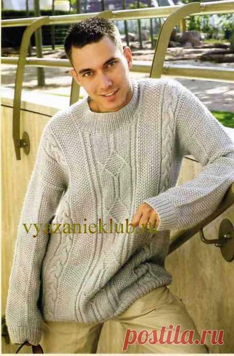 Серый пуловер для мужчин.Спицы