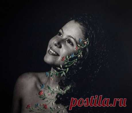 Остроумные работы: вышивки на фотографиях Алин Брант (Aline Brant) | Фотоискусство