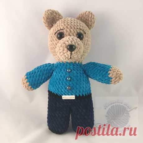 Купить игрушку плюшевого медведя в светло синей рубашке, штанахПлюшевый мир Мастерская игрушек Анны Ганоцкой