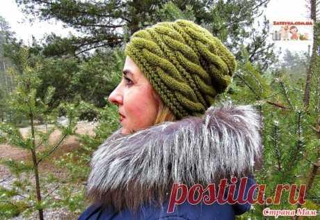 Женская шапка спицами с поперечными косами. Видео МК. - Вязание - Страна Мам