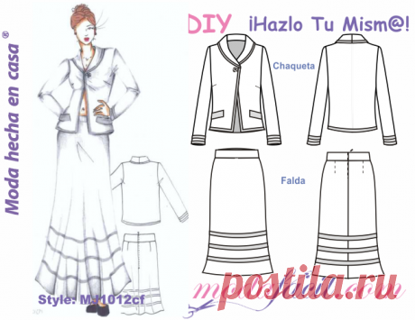 Patrones de conjunto de chaqueta y falda elegantes Modafacil DIY