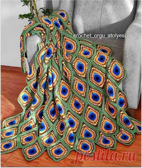 Турецкая рукодельница вяжет сказочные пледы крючком: цветочная поляна, павлиний глаз, яркая геометрия | Paradosik_Handmade | Яндекс Дзен
