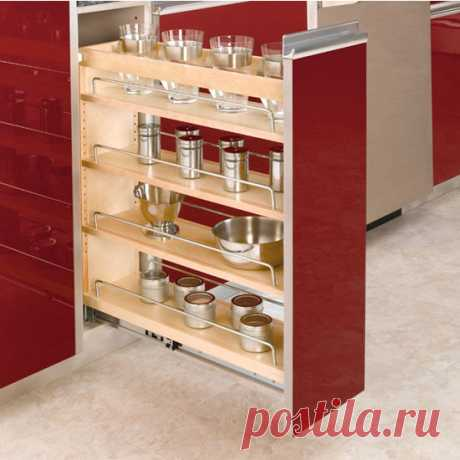 Cabinet-Organizers - Adjustable Wood Pull-Out Organizers for Kitchen or Vanity Base Cabinet - Full Extension Tri-Slides - by Rev A Shelf   KitchenSource.com