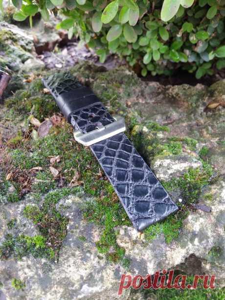 24mm Croco Black leather watch strap vintage style – GORIANI