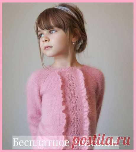"""Джемпер для девочки из пряжи """"пух норки"""" с рюшами(автор Елена @shkepu_ в инстаграм) #knitting #вяжем_детям #вязание_спицами"""