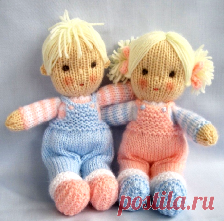 Knitted dolls with the description and schemes