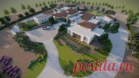 3D luxury Residence Landscape sketchup model and render