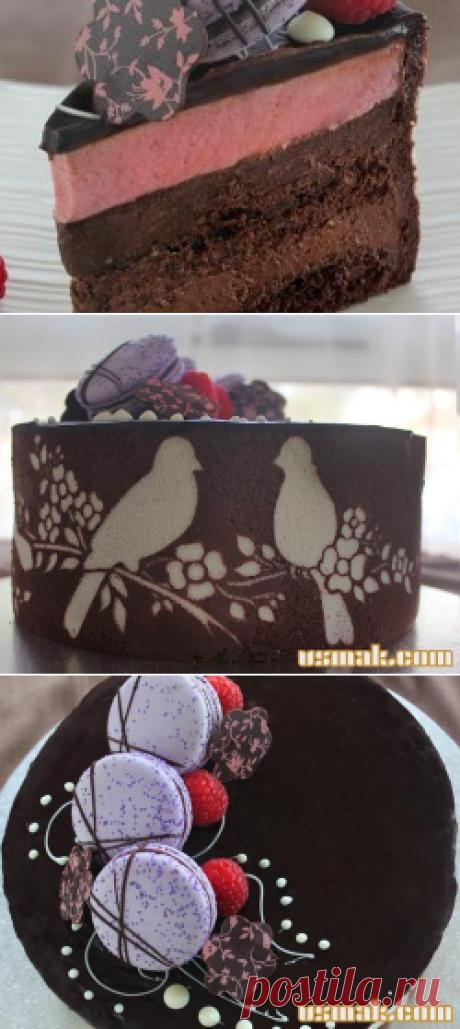 Торт Joconde Imprime с шоколадом, фундуком и малиной под заказ рецепт