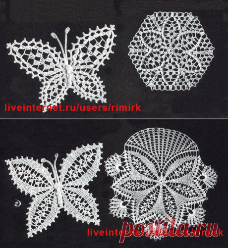 Knitted lacy butterflies on the basis of napkins