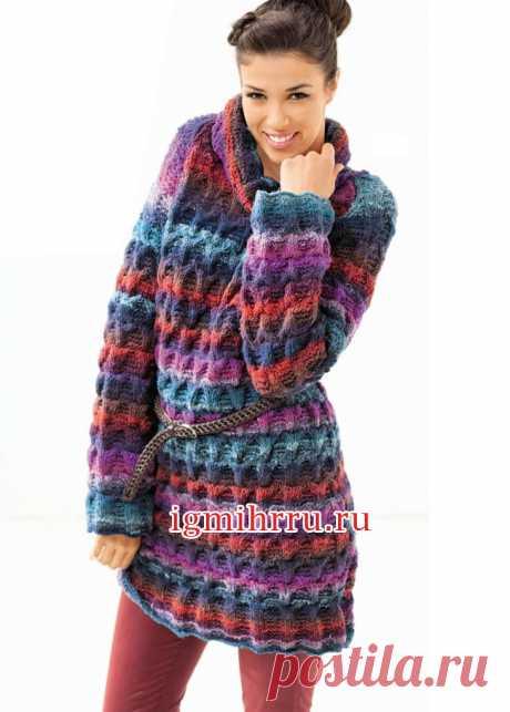 Разноцветное шерстяное платье с большим воротником. Вязание спицами
