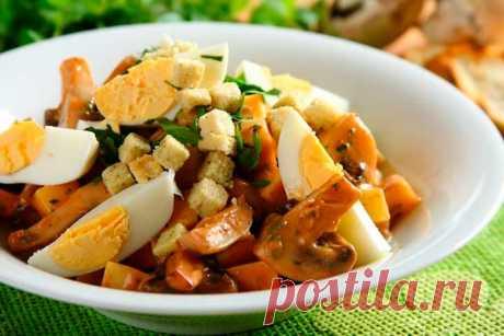 Грибной салат с сыром и яйцом – пошаговый рецепт с фото.