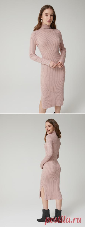 Платье из трикотажа в рубчик цвет: темно-розовый, артикул: 4603374246850 - купить в интернет-магазине SELA
