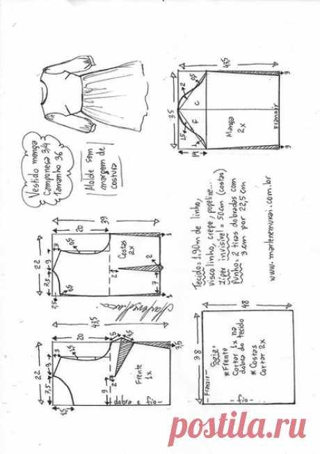 Платье с присборенной юбкой, выкройка от Marlene Mukai на размеры с 36 по 52 (евр.). #простыевыкройки #простыевещи #шитье #платье #выкройка