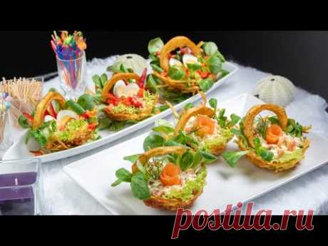 Картофельные корзины с яйцом, семгой, салатом ягненка - рецепт птичьего гнезда