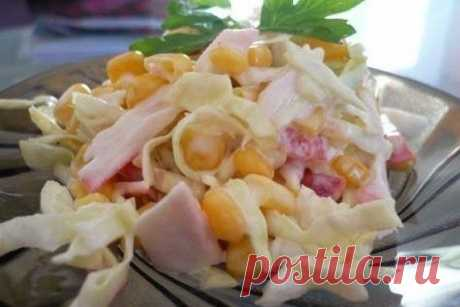 Крабовый салат с капустой рецепт – авторская кухня: салаты. «Еда»