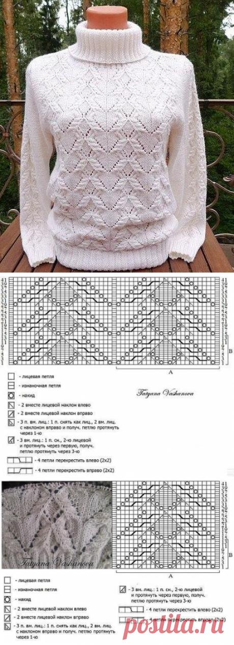 Вязать пуловер женский. Узоры спицами для пуловеров | Amac