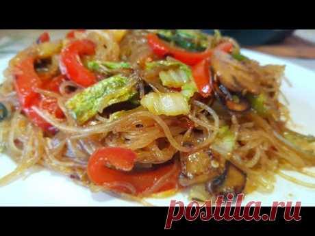 (WOK) Фунчоза с овощами цыганка готовит. Постное блюдо! Как приготовить фунчозу. Gipsy cuisine.
