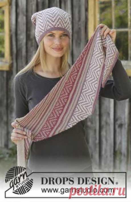 Комплект Пурпурный путь Яркий и нарядный комплект для женщин, связанный на спицах 3.5 мм из тонкой пряжи альпаки. Комплект состоит из шапки и...
